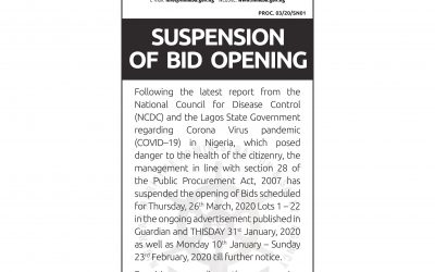 SUSPENSION OF BID OPENING