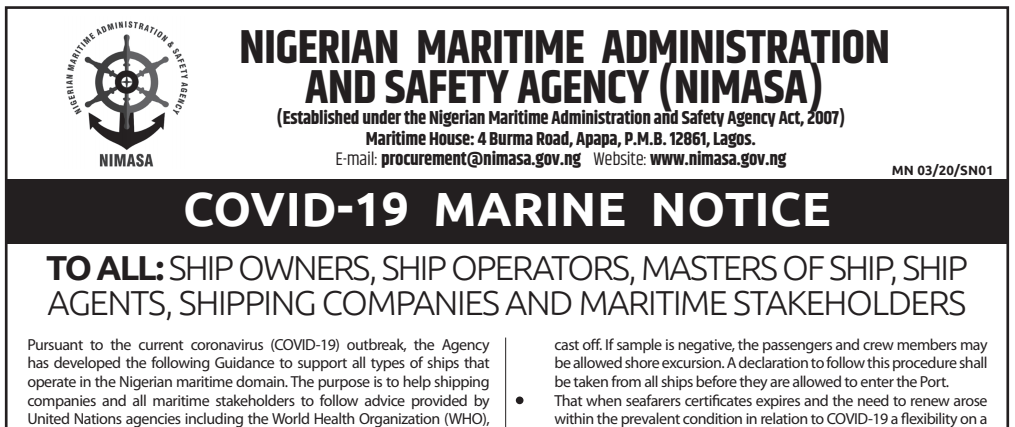 COVID-19 Marine Notice