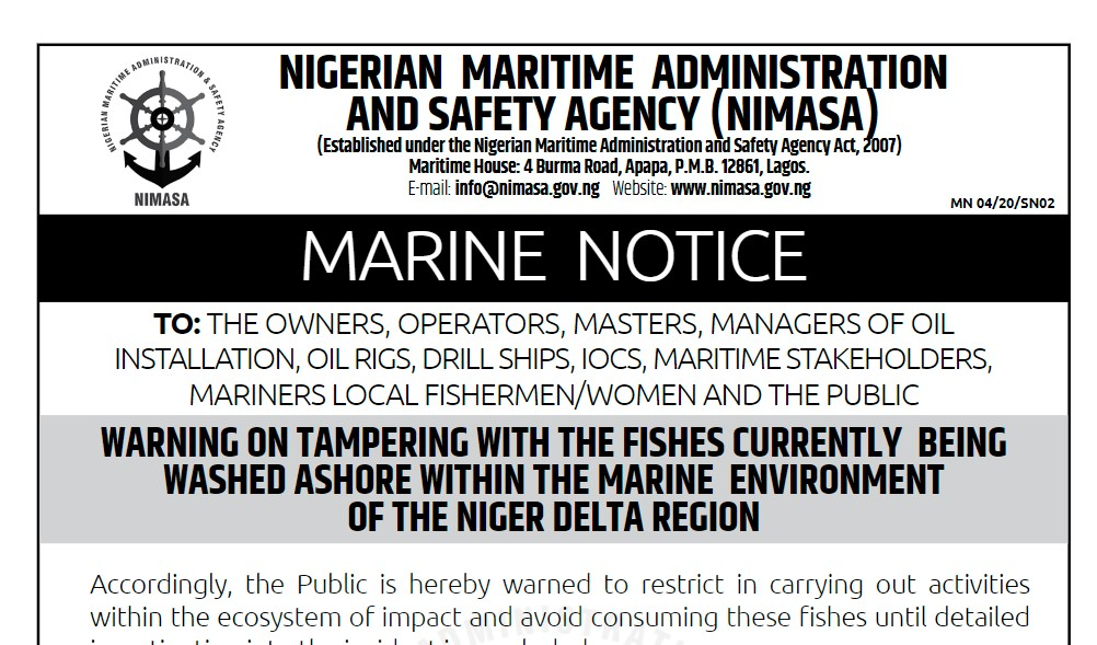 WARNING ON TAMPERING WITH THE FISHES CURRENTLY BEING WASHED ASHORE WITHIN THE MARINE ENVIRONMENT OF THE NIGER DELTA REGION