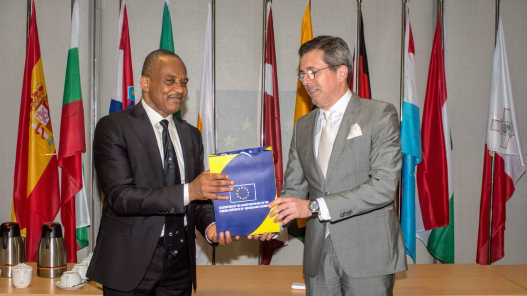 The Director General, Nigerian Maritime Administration and Safety Agency (NIMASA), Dr. Bashir Jamoh receiving a plaque from the First Counsellor Deputy Head of Deligation, European Union Delegation to the Federal Republic of Nigeria and to the Economic Community of West African States, Mr. Alexandre Gorges Gomes after an engagement session in Abuja