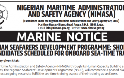 NIGERIAN SEAFARERS DEVELOPMENT PROGRAMME: SHORTLIST OF CANDIDATES SCHEDULED FOR ONBOARD SEA-TIME TRAINING