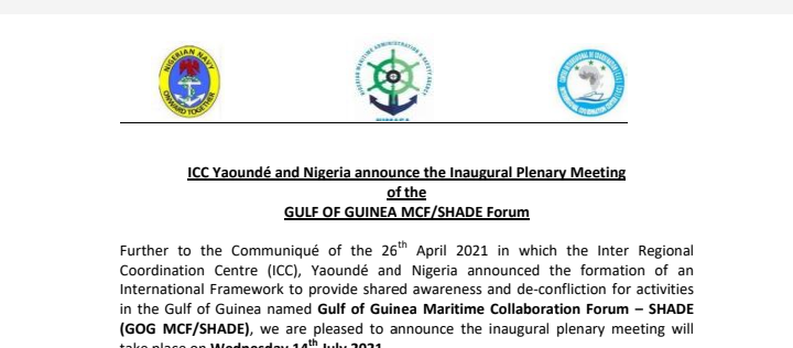 ICC Yaoundé and Nigeria announce the Inaugural Plenary Meeting of the GULF OF GUINEA MCF/SHADE Forum