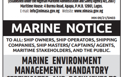 MARINE ENVIRONMENT MANAGEMENT MANDATORY CERTIFICATES AND DOCUMENTS TO BE CARRIED ON BOARD VESSELS