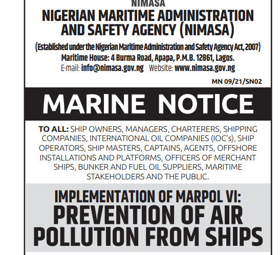 IMPLEMENTATION OF MARPOL VI: PREVENTION OF AIR POLLUTION FROM SHIPS